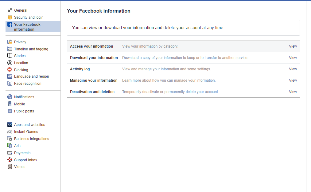 Download a Copy of All Your Facebook