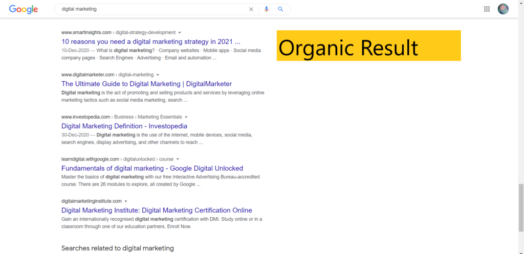Organic Result in search engine